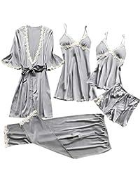 TIFIY Sexy Conjuntos Cinco Vestido Mujer Erótico Lace Talla Grande Lenceria  Babydoll Interior Ropa de Dormir 2832ee2c2ae4