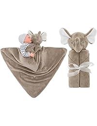 Vine Couverture de bébé ultra douce avec capuche et animal en peluche 76x76cm