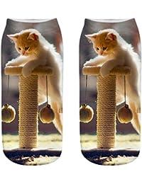 2b95b4f8c73 JJsmile Femmes 3D nouveauté folle chat drôle chaussettes à la cheville  Chaussettes basses mignonnes de bande