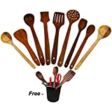 [Sponsored Products]VISHAL INDIA CRAFT WOODEN COOKING AND SERVING SPOONS KITCHEN UTENSILS SET OF 9, BEST WOODEN COOKING TOOLS WITH STAND, COOKING AND SERVING SPOONS STAND COMBO