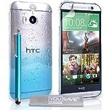 Yousave Accessories Die Neu HTC One M8 (2014) Hülle Blau / Klare Regentropfen Hart Schutzhülle Mit G