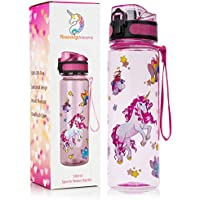HeavenlyUnicorns Kids Unicorn Water Bottles, BPA Free, LEAKPROOF, SHATTERPROOF, Gift Box, Cleaning Brush, 500ml