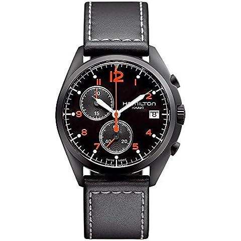 Hamilton H76512155 - Reloj de cuarzo para hombre, correa de cuero color negro