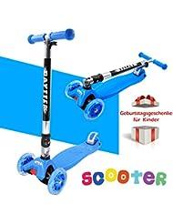 BAYTTER® Faltbarer Kinderroller für Kinder ab 3 Jahre bis 50kg, Kickscooter aus Aluminiumlegierung, Dreiräder mit LED Blinken