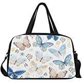 InterestPrint Travel Duffel Tote Bag with Shoes Compartment for Women & Men Flying Butterflies Blue