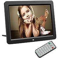 LESHP Marco de fotos digital multifuncional 12 pulgadas Resolución 1280 * 800 Reproductor de Audio con Control Remoto Reloj Electrónico Automática