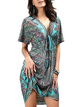 9e618ec2a9b3 Copricostume Mare Donna Costume da Bagno a Maglia Maglietta Uncinetto con  Nappe Camicetta Kimono Top Vestito