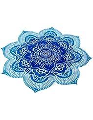 Estera de Playa Tapiz de Yoga Ronda Hippie Banda Bohemio Mandala Lutos Azul