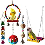 SODIAL 5Pcs Jouets Perroquet Oiseau Cloche Suspendue Jouet de Balan?oire Hamac de Cage D'Oiseau Domestiques Jouet Suspendu pour Cockatiels de Petites Perruches,Conures, Aras, Perroquets