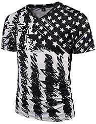 Verano Moda Tendencia Impresión Patrón Casual Chaqueta de Manga Corta 's Camisa 3d Estrellas de Gran Tama?o Casual Camiseta,Figura,L