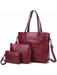Bolsos de Mujer, Bolsos de Mujer, bolsa de Hombro de Tres piezas Vino Tinto