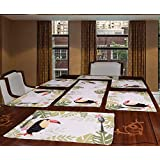 Avira Home Toucan Polycotton Table Mat And Runner Set Of 7, (Multicolor)