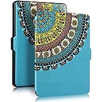 PIXNOR Cubierta protectora de cuero genuino con Auto despertar o dormir para Amazon Kindle Paperwhite(Blue Totem)