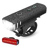 IPSXP Koplamp-achterlichtcombinaties, auto-sensormodus, USB-oplaadbaar, 350 lumen, led-fiets, zeer helder, 4 uur, mountainbike, road, fietsen, pendelaar, zaklamp met 4 modi, waterdicht