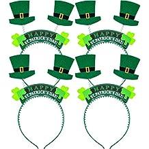 Boao 8 Piezas de Diadema de Sombrero de Tela Adorno de Cabeza de Trébol  Verde de 06373d225a0