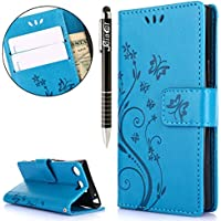 Sony Xperia XZ1 Mini Hülle,Sony Xperia XZ1 Mini Ledertasche Handyhülle Brieftasche im BookStyle,SainCat Retro... preisvergleich bei billige-tabletten.eu