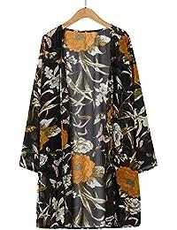 LANSKIRT Cardigans de Encaje de Mujer Abrigo Informal con Capa Abierta de Estampado Floral Blusa Suelta