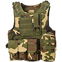 Tactical caza militar Molle Chaleco Militar Airsoft táctica SWAT Chaleco para Policía Holster Jungle Camo