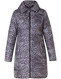 Yesta Stepp-Jacke Kurzmantel Damen Grau mit Leoparden-Muster große Größen 30596b05f1