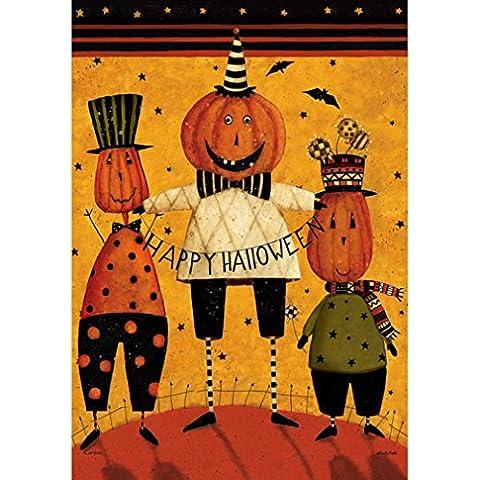 Zucca di Halloween a forma di stella a pois Double Face uomo primitivo felice Bandiera giardino 13 x 18