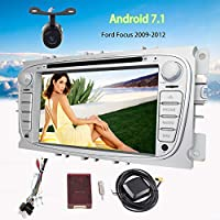 7 Inch Android 7.1 Double Din Head Unit Touch Screen Car GPS Navigation Radio Stereo Ford Focus DVD Player Support Bluetooth FM/AM RDS Radio Mirror Link Steering Wheel Control with Free Backup Camera