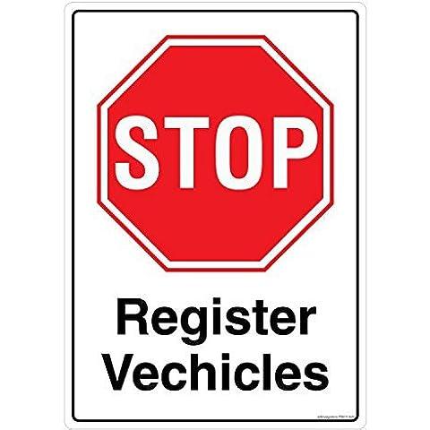 Seguridad Sign Store Stop registro Vehículos material adhesivo 3M policarbonato, 0,25mm, 5unidades) 210 L x W