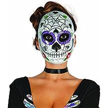 Amakando Antifaz Sugar Skull Halloween Máscara Mexicana de Muertos Motivo Hombre Mascarilla Día de los Muertos