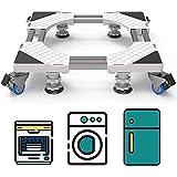 DEWEL Support de Machine à Laver mobile avec 4 roues à double verrouillage 4 pieds 8 tubes robustes, Base de Réfrigo de Lave-