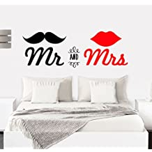 MYVINILO - Vinilo decorativo - Mr & Mrs / negro / rojo (135 x 46 cm)