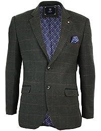 Herrensakko Vintage Fischgräte Tweed Design Blau Formell Lässig Tailored Fit