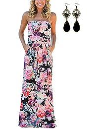 carinacoco Damen Bandeau Bustier Kleider mit Blüte Drucken Lange Sommerkleid Strandkleider Maxikleider Cocktailkleid