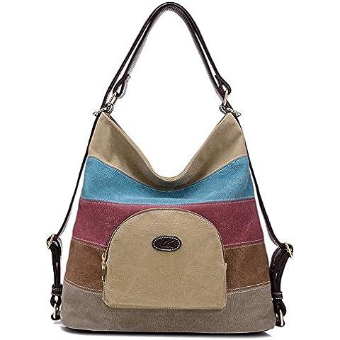 BYD - Mujeres Mitil Function Bag Bolsos bandolera Bolsos mochila School Bag Cross Body Bag Mutil Ppockets Design Colorful Canvas Material