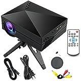 Yaufey® 1000 Lumens Mini Projecteur LED Multimédia avec VGA USB SD AV HDMI pour Home Cinéma Théâtre, Jeux pour enfants (1000 Lumens, Noir)