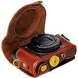 First2savvv XJPT-HX90-10 brun foncé PU cuir étui housse appareil photo numérique pour Sony Cyber-Shot DSC HX90 WX300