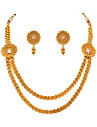 JFL - Traditional Ethnic One Gram Gold Plated Spiral Diamond Designer Necklace Set With Earrings For Women & Girls.