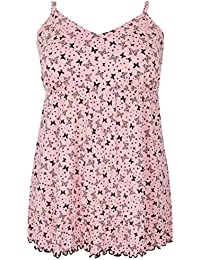 b21abfe4b08c34 Yours Women's Plus Size Pink Butterfly Longline Pyjama Top with Frilled Hem
