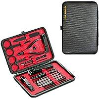 DoGeek Set Manicura Kit Manicura de 18 Piezas Acero Inoxidable Cortauña Manicura Pedicura Limpiador Cutícula Grooming Kit, Oído Recoger, Uñas Tijeras Con Caja de Cuero (18pcs)