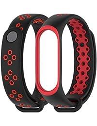 Hongtianyuan Correa de Recambio, Kit de Reposición, Correa de Repuesto para Reloj Inteligente de Xiaomi Mi Band 3,Silicona Coloreada (Rojo negro)