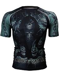 Btoperform MMA corriendo compresión impreso Yoga para hombre camisas de manga corta fx-315, mediano