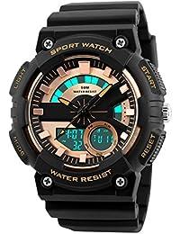 Skmei Multifunction Golden Dial Analog Digital Sports Watch For Men's & Boys.