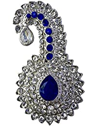 B-fashionable Metal Sparkling Kilangi Rhinestone Rhodium Finish Brooch for Men(Blue)