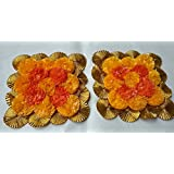 Anaya Studio Artificial Marigold Flower Mat Rangoli With Traditional Golden Gota Border Floor Decor/Wall Decor,Table Decor (Set Of 2-6 Inch Marigold Flower Mat)