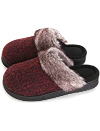 f54867711687 Women s Cozy Woolen Yarn Knitted Slippers Memory Foam Fuzzy Plush Lining  Slip-on House Shoes