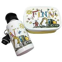 Brotdose mit Trinkflasche mit Namen im Set, Bagger, personalisiertes Kindergarten-Frühstücksset, Rosirosinchen, Rosti Mepal