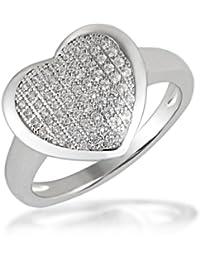 Goldmaid Damen-Ring Herz PremiumShine 925 Sterlingsilber 64 klare Zirkonia  He R5861