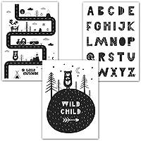 Frechdax® 3er Set Poster DIN A3 ohne Bilderrahmen | Mädchen Junge | Kinderposter Bilder für Kinderzimmer Babyzimmer | Tiermotive Tiere (3er Set Skandinavisch, Straße, Alphabet)
