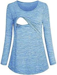 OHQ Camisetas Maternidad Mujeres De EnfermeríA Mangas Largas Casual Top Ropa De Lactancia Negro Blanco Gris Azul Rojo Blusa Sudadera
