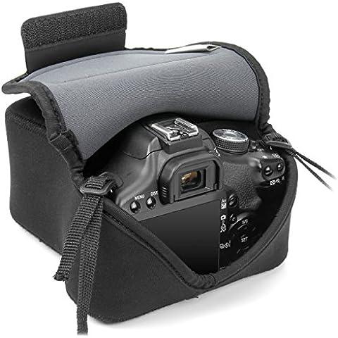 USA GEAR Funda Cámara Reflex Ligera Protectora y parcialmente impermeable de Neopreno- Compatible con Canon EOS 1200D , 700D , 100D / Nikon D3200 , D3100 ¡y muchas más! - color