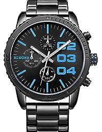 Binger Cuarzo Negro azul de los hombres del cronógrafo del dial Muestra de acero inoxidable resistente al agua reloj de pulsera (azul)