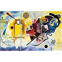 Vassili Kandinsky - Amarillo Rojo Azul, 1925, 3 Partes Cuadro, Lienzo Montado Sobre Bastidor (120 x 80cm)